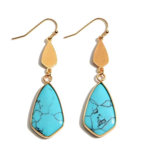 Jewelry - Semi Precious Moroccan Teardrop Earrings in Gold